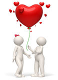 3d couple releasing a red heart balloon Valentines day. 3d rendered white couple releasing a big red heart balloon for Valentines day - Wishes concept Royalty Free Stock Image