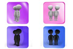 3D couple stand concept icon Stock Photo