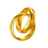 3D Couple of Wedding Rings Isolated on White Background Royalty Free Stock Image