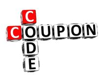 3D Coupon Code Crossword on white background Stock Photography
