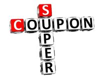3D Coupon Super Crossword on white background.  Royalty Free Stock Photos