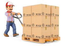3D Courier delivery man pushing a pallet truck with boxes. 3d working people. Courier delivery man pushing a pallet truck with boxes. White background Royalty Free Stock Photo
