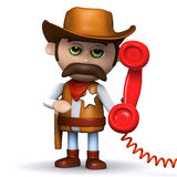 3d Cowboy answers the phone Royalty Free Stock Photos