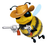 3d Cowboy bee. 3d render of a bee dressed as a cowboy Royalty Free Stock Photo