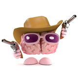 3d Cowboy brain. 3d render of a brain dressed as a cowboy with guns royalty free illustration