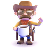 3d Cowboy coffee break Royalty Free Stock Photo