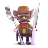 3d Cowboy knife and fork Stock Photo