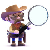 3d Cowboy magnifier Stock Photo