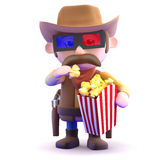 3d Cowboy at the movies Royalty Free Stock Photography