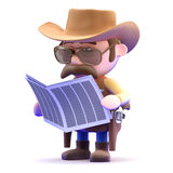 3d Cowboy news Royalty Free Stock Images