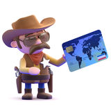 3d Cowboy pays at the till Royalty Free Stock Image