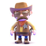 3d Cowboy ready to draw Royalty Free Stock Photos