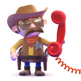 3d Cowboy sheriff answers the phone Stock Photography