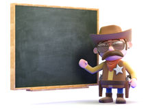 3d Cowboy sheriff at the blackboard. 3d render of a cowboy sheriff stood at a blackboard Stock Photo