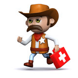 3d Cowboy sheriff brings first aid Royalty Free Stock Photo