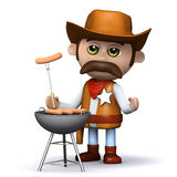 3d Cowboy sheriff cooks a mean barbeque Royalty Free Stock Image