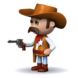 3d Cowboy sheriff draws his gun Stock Photography