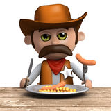 3d Cowboy sheriff eating his dinner Royalty Free Stock Images