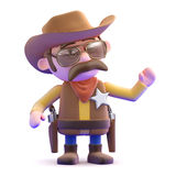 3d Cowboy sheriff gestures to his left Royalty Free Stock Image
