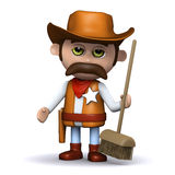 3d Cowboy sheriff hands out a broom Stock Photography