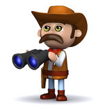 3d Cowboy sheriff has binoculars Royalty Free Stock Photo