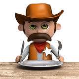 3d Cowboy sheriff has an empty plate Stock Images