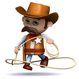 3d Cowboy sheriff jumps his lasso Royalty Free Stock Images