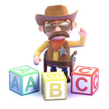 3d Cowboy sheriff learns the alphabet Stock Photography