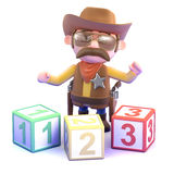 3d Cowboy sheriff learns to count Royalty Free Stock Images