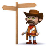 3d Cowboy sheriff looks at the roadsign Stock Images