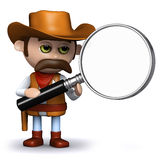 3d Cowboy sheriff magnifies the situation Stock Images