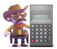 3d Cowboy sheriff next to a calculator Stock Photo