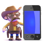3d Cowboy sheriff next to a smartphone Stock Image