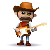 3d Cowboy sheriff plays electric guitar Royalty Free Stock Photography