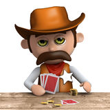 3d Cowboy sheriff plays poker Royalty Free Stock Photography