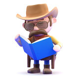 3d Cowboy sheriff reads a book Stock Images