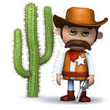 3d Cowboy sheriff stood too close to the cactus. 3d render of a cowboy sheriff covered in spikes off a cactus Royalty Free Stock Images