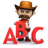 3d Cowboy sheriff teaches the alphabet Royalty Free Stock Photography