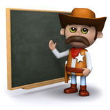 3d Cowboy sheriff teaches at the chalkboard Stock Images