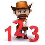 3d Cowboy sheriff teaches math Stock Photos