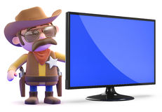 3d Cowboy sheriff with widescreen tv Royalty Free Stock Photography