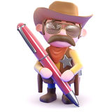 3d Cowboy sheriff writing with a pen Stock Photo