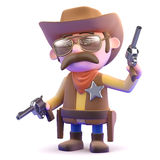 3d Cowboy shoots up the town Royalty Free Stock Image