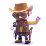 3d Cowboy sings at the microphone Stock Images