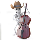 3d Cowboy skeleton plays the double bass Royalty Free Stock Images