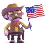 3d Cowboy waves the American flag Stock Image