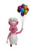 3d cozinheiro chefe Pig com ballons Imagens de Stock Royalty Free