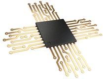 3d cpu芯片中央处理器单元的例证与联络的 免版税库存图片