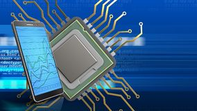 3d of cpu. 3d illustration of cpu over digital background with phone Royalty Free Stock Photography