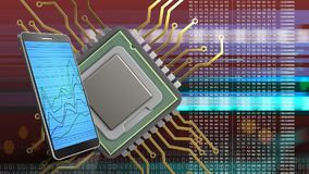 3d of cpu. 3d illustration of cpu over red cyber background with phone Royalty Free Stock Image